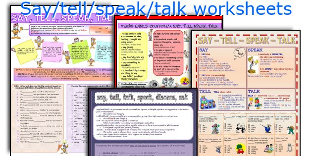 Say/tell/speak/talk worksheets