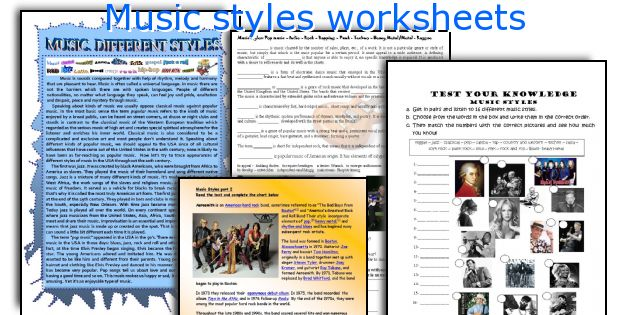Music styles worksheets