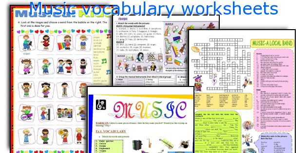 Music vocabulary worksheets