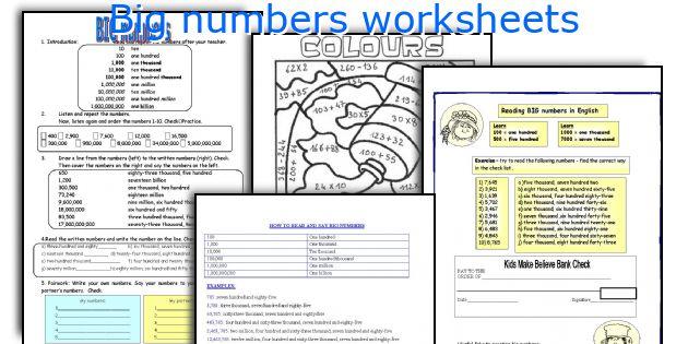 Big numbers worksheets