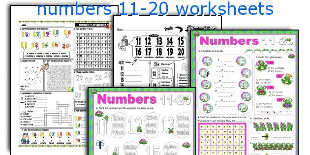 English teaching worksheets: numbers 11-20