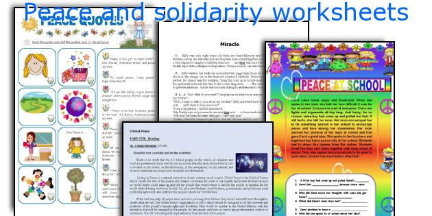Peace and solidarity worksheets