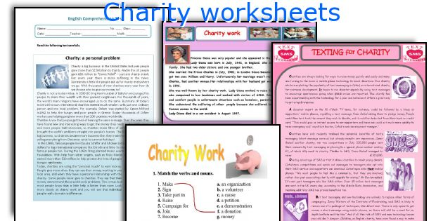 Charity worksheets