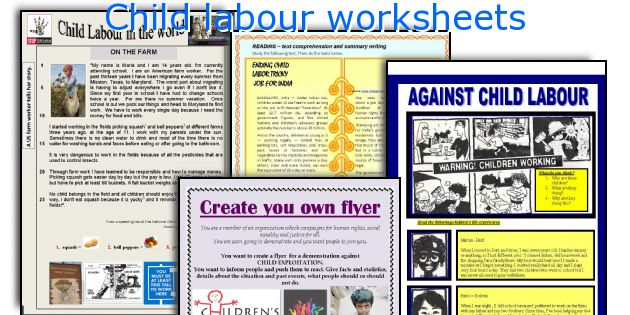 Child labour worksheets