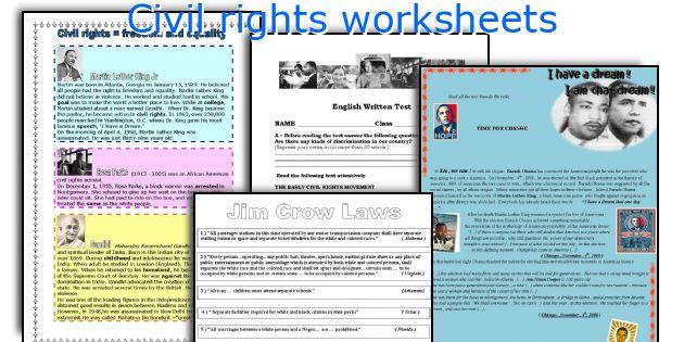 English teaching worksheets Civil rights – Civil Rights Worksheets