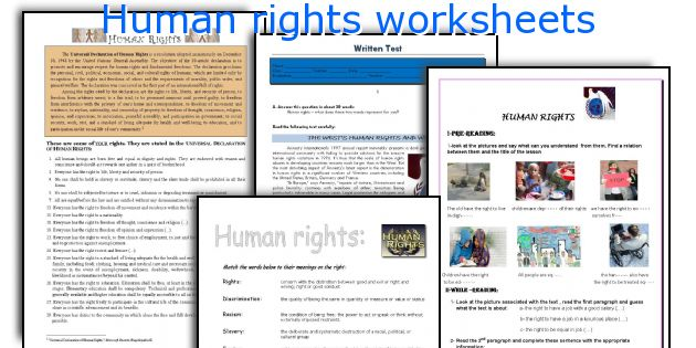 Human rights worksheets