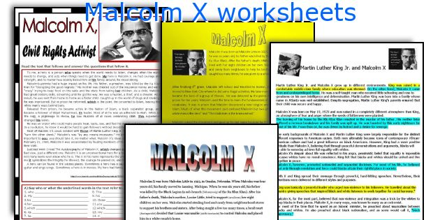 Malcolm X worksheets