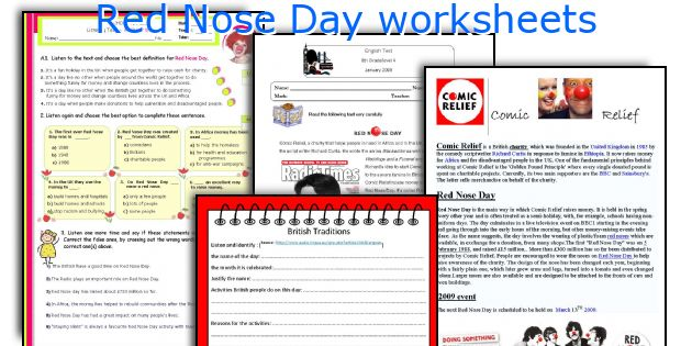 Red Nose Day worksheets