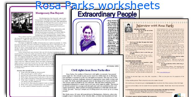 English teaching worksheets Rosa Parks – Rosa Parks Worksheet