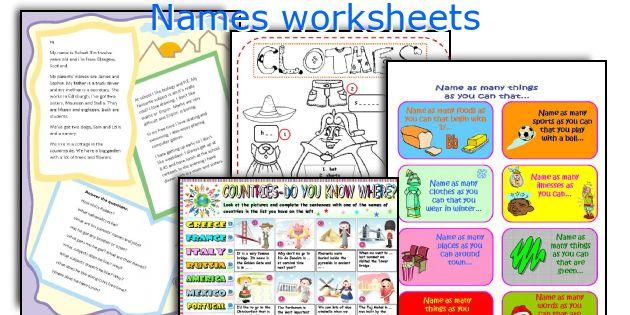 Names worksheets