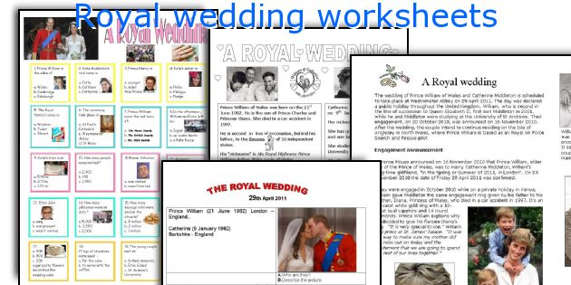 Royal wedding worksheets