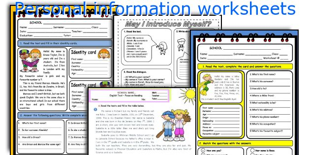 Personal information worksheets