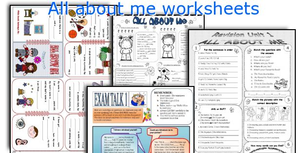All about me worksheets