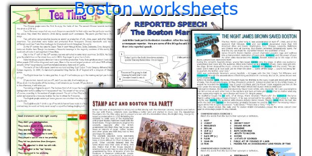 Boston worksheets