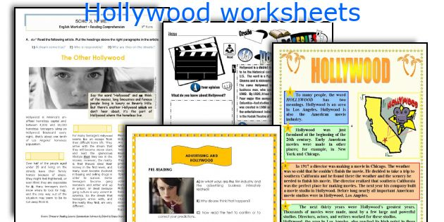 Hollywood worksheets