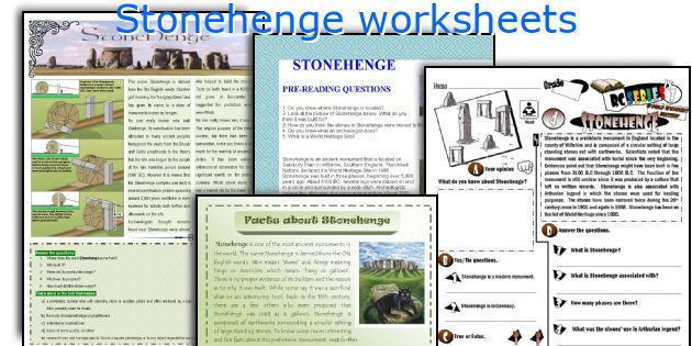 English teaching worksheets: Stonehenge