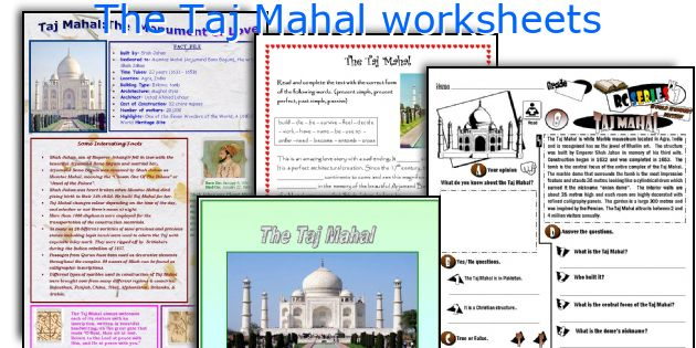The Taj Mahal worksheets