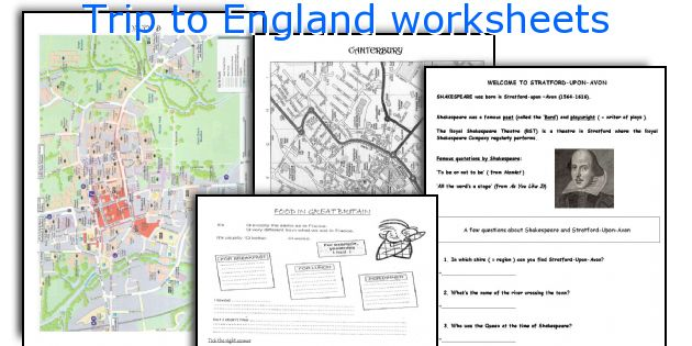 Trip to England worksheets