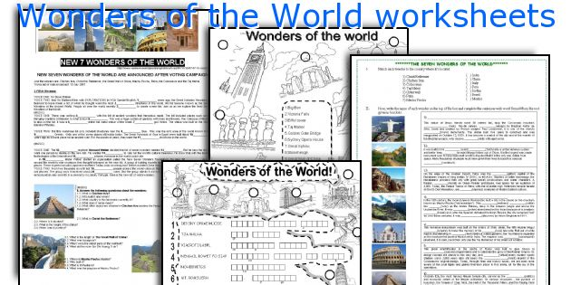 Wonders of the World worksheets