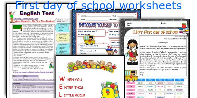 English teaching worksheets: First day of school