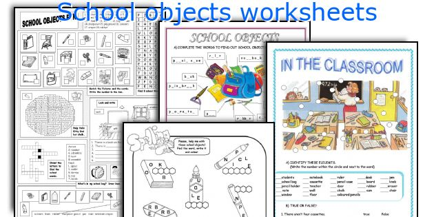 School objects worksheets