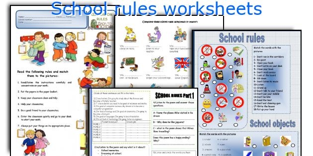 School rules worksheets