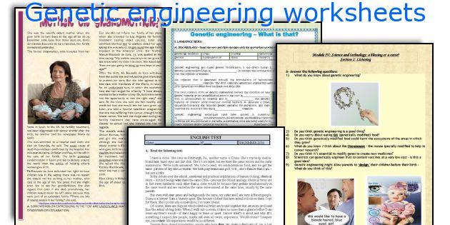 English teaching worksheets Genetic engineering – Genetic Engineering Worksheet