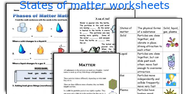 English teaching worksheets States of matter – Solids Liquids and Gases Worksheets