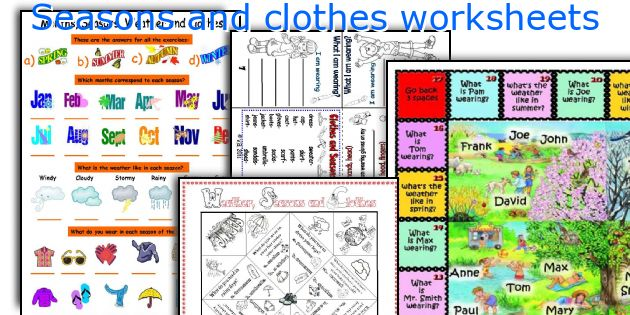 Seasons and clothes worksheets