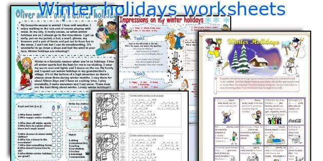 Winter holidays worksheets