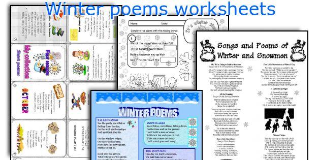 Winter poems worksheets