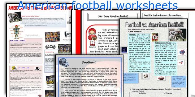 American football worksheets