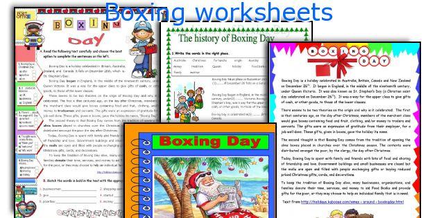 Boxing worksheets