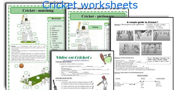 Cricket worksheets
