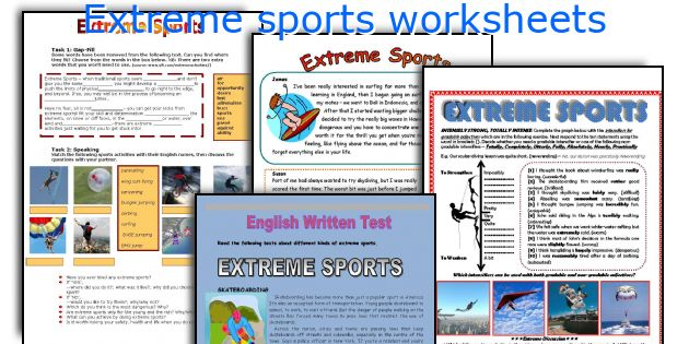 Extreme sports worksheets