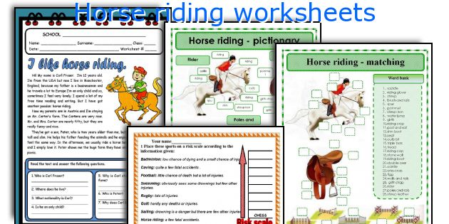 Horse riding worksheets