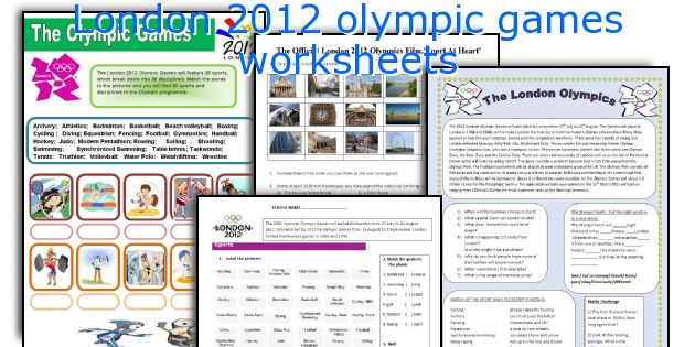 London 2012 olympic games worksheets