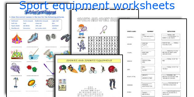 sport equipment worksheets. Black Bedroom Furniture Sets. Home Design Ideas