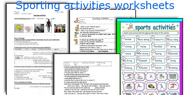 Sporting activities worksheets