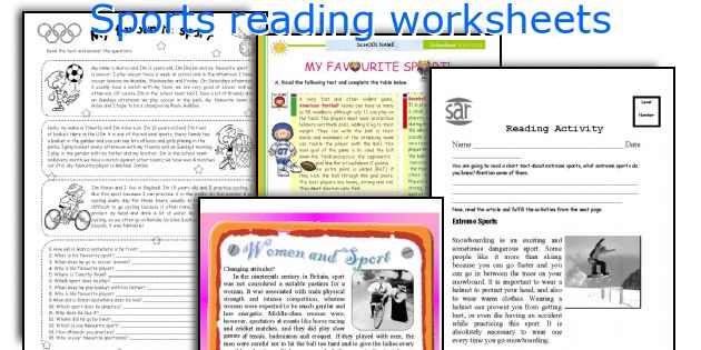 Sports reading worksheets