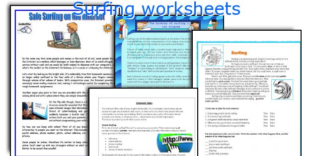 Surfing worksheets