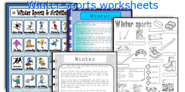 Winter sports worksheets