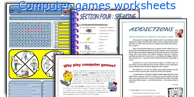 Computer games worksheets