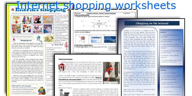 Internet shopping worksheets
