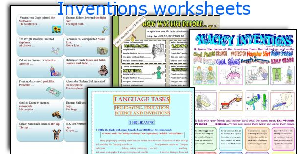 Inventions worksheets