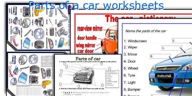 parts of a car worksheets  esl printables