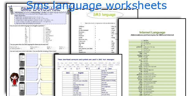 Sms language worksheets