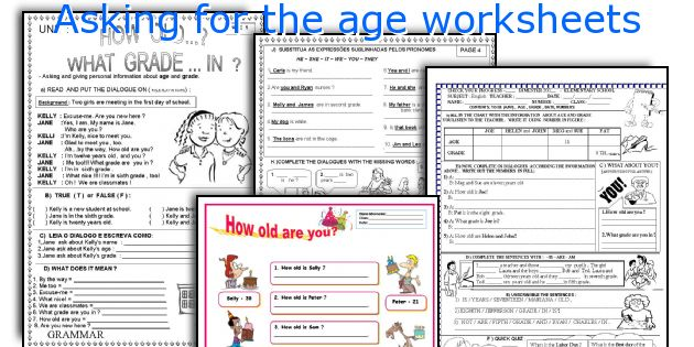 Asking for the age worksheets