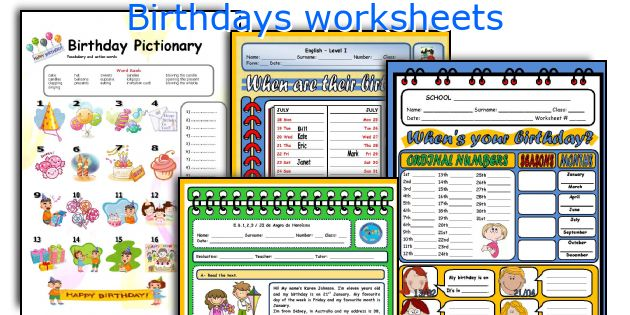 Birthdays worksheets
