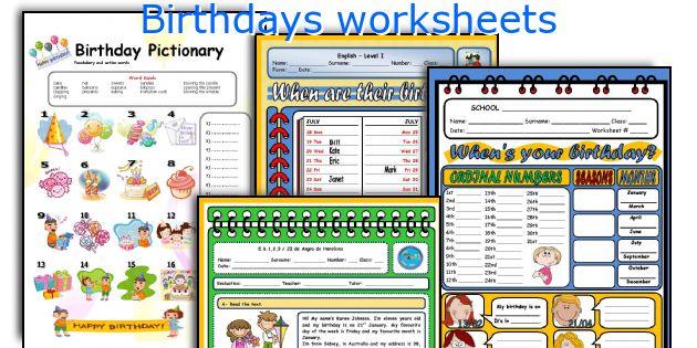 Birthdays worksheets